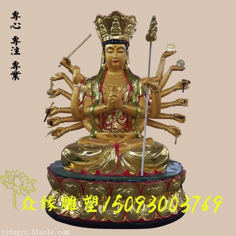 准提菩萨的十八臂法器 木雕佛像厂家