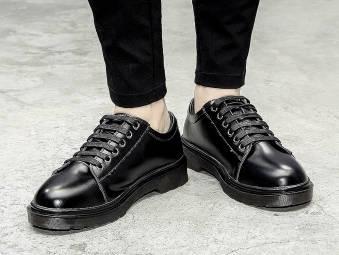 夏季英伦低帮马丁靴男休闲潮流韩版小皮鞋男圆头大头皮鞋复古男鞋
