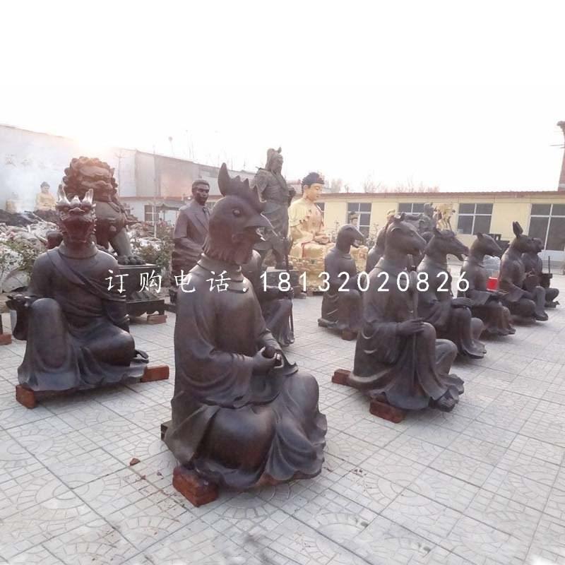 【十二生肖雕塑,兽首人身铜雕】价格,厂家,景观雕塑
