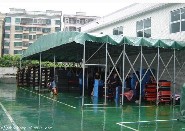 南京钢结构雨棚,电动活动推拉蓬折叠遮阳蓬