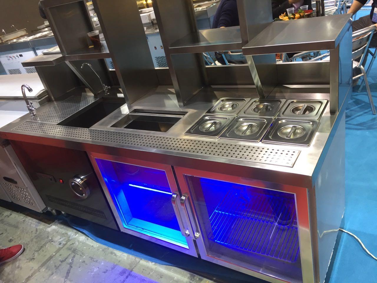 奶茶店不锈钢水吧台 冰柜操作台工作台 冷