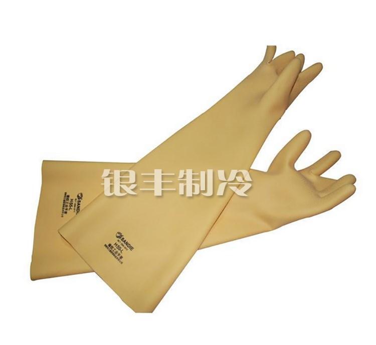 氨用工业耐酸碱橡胶手套 氨制冷专用防护手套 60厘米加厚加长