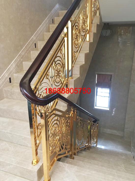 欧式别墅弧形楼梯护栏铜艺扶手K金屏风厂家