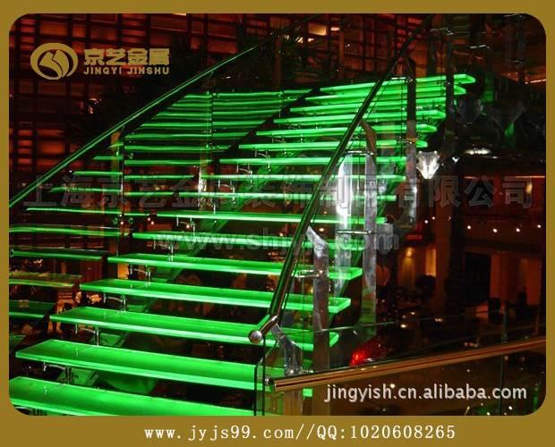 京艺欧式直线式旋转式光纤工程发光楼梯不锈钢实木玻璃定做楼梯