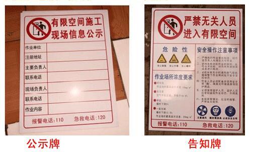 有限空间作业安全告知牌