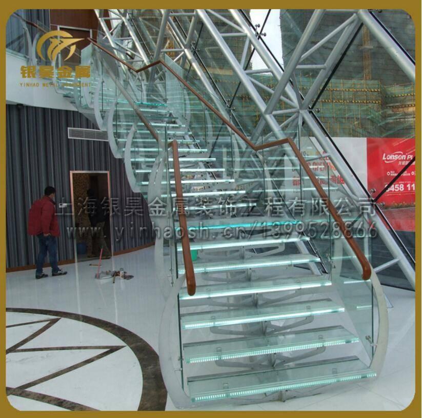 供钢结构楼梯定制发光楼梯大型工程楼梯精品玻璃楼梯