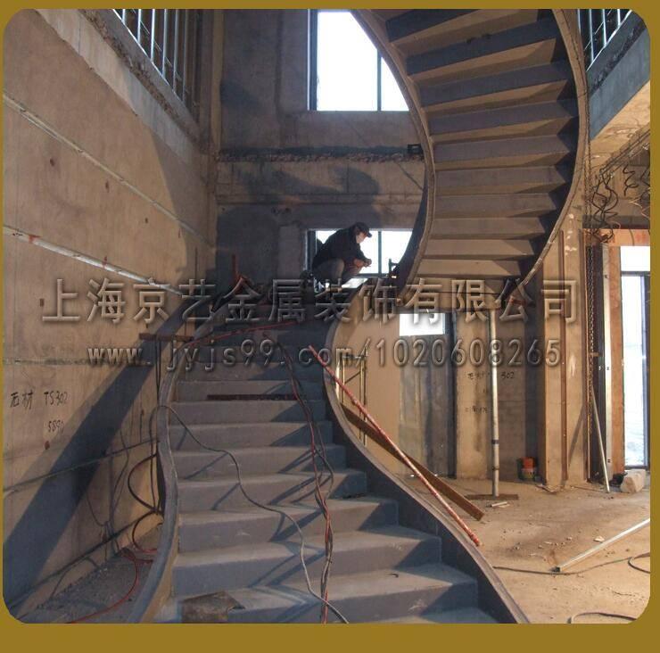 供应钢结构工程楼梯铁艺玻璃发光各种材质定制酒店别墅家用楼梯