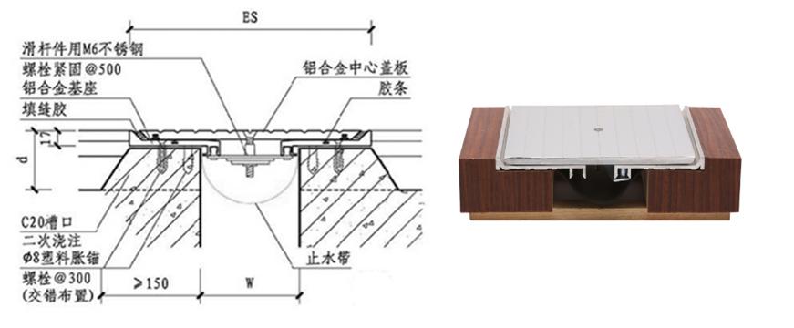 型楼地面变形缝产品简介 特点:基座及盖板由中控滑竿及中心螺丝连接
