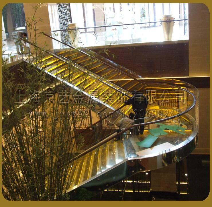供应直线式旋转式光纤工程发光楼梯不锈钢实木定做楼梯