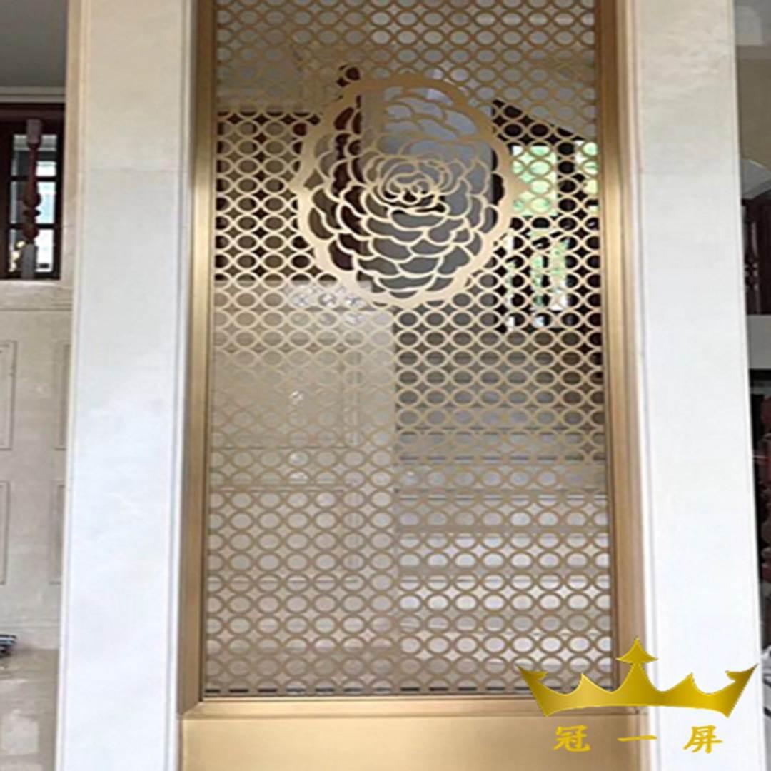 新中式不锈钢屏风 客厅隔断屏风效果图图片