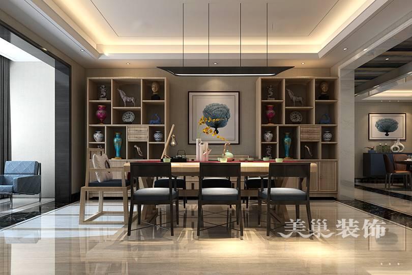 豫发九号院203大平层装修效果图,中式书桌设计