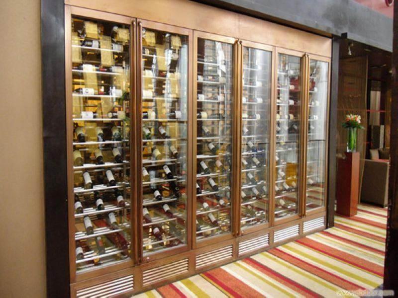 恒温不锈钢酒柜直供澳门大型私人会所 玫瑰金拉丝不锈钢酒柜定制
