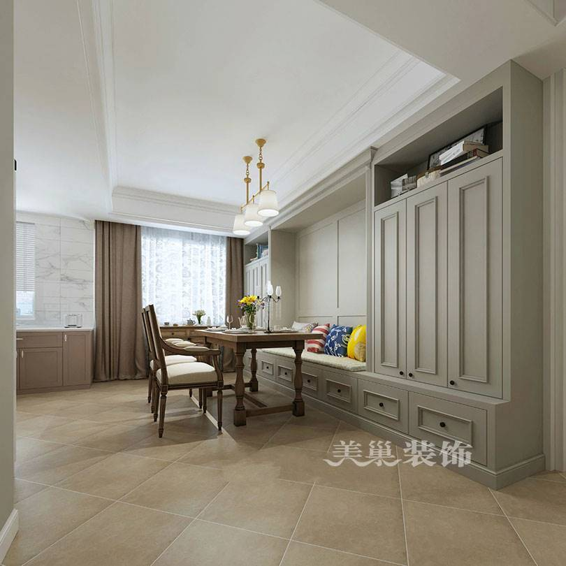 美巢装饰-城果120平三室两厅装修效果图-开放式厨房与卡座相衬