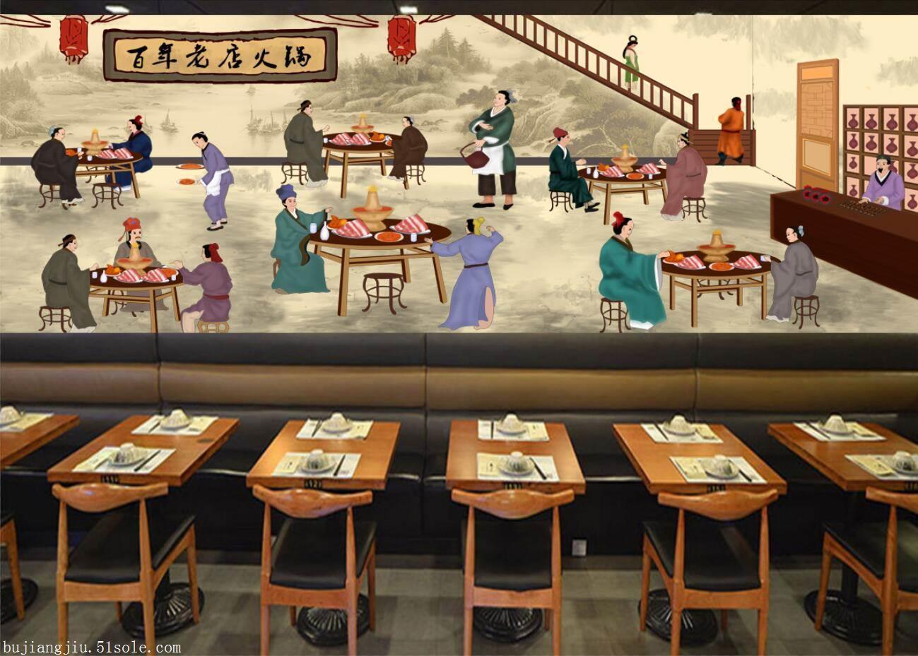 老北京四季涮肉无缝壁画,北京火锅饭店背景墙,有3000多张壁画素材供你