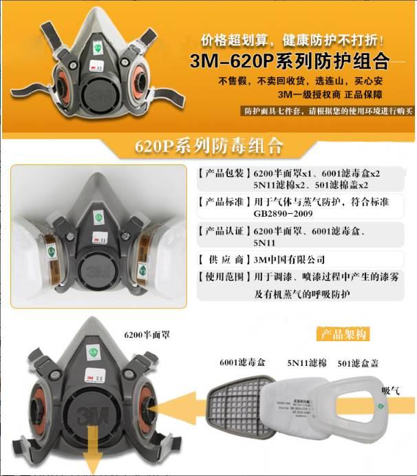 3M 620P尘毒呼吸防护套装 喷漆面罩 防雾霾 劳保用品批发