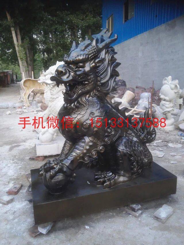 大庆动物麒麟雕塑 玻璃钢防铜动物麒麟雕塑厂家