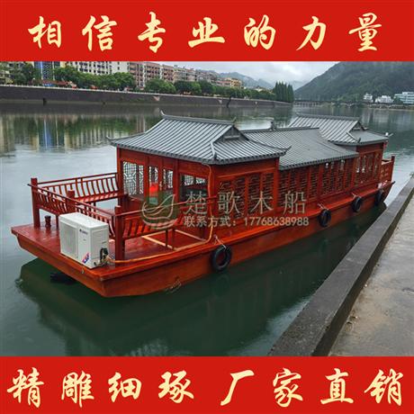 供应广东揭阳10米仿古画舫船 水上观光旅游船