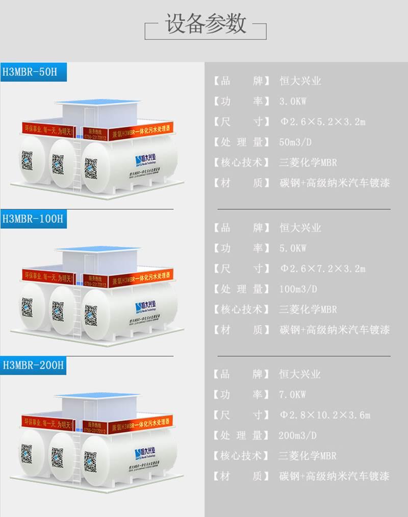 三菱MBR一体化设备HDMBR-500H3市政污水处理500t专用