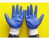 劳保用品批发 丁腈手套 13针白尼龙耐磨防滑丁晴浸胶涂胶手套
