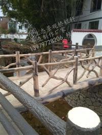 河道景区混凝土水泥仿木栏杆制作