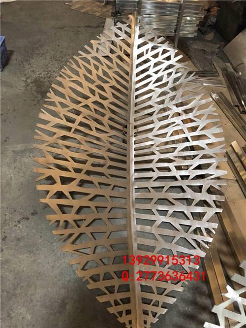 304不锈钢树叶雕塑 景观叶子不锈钢锻打成型工艺大件图片