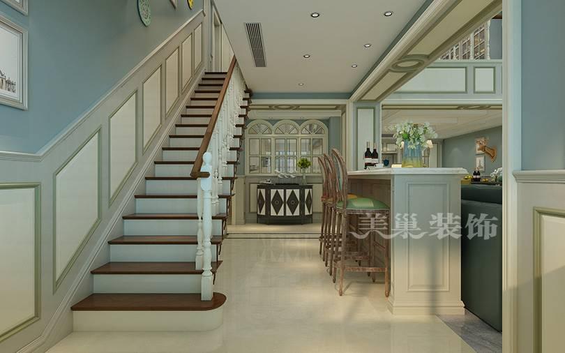 别墅酒柜吧台与楼梯设计
