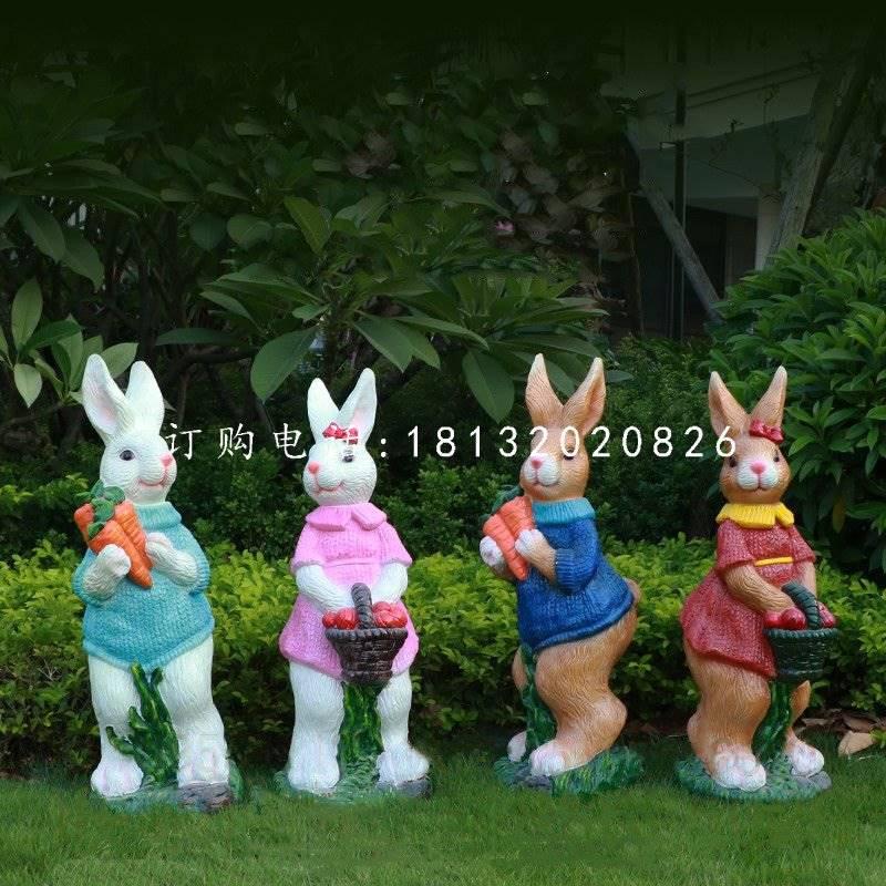 公园兔子雕塑,玻璃钢卡通雕塑