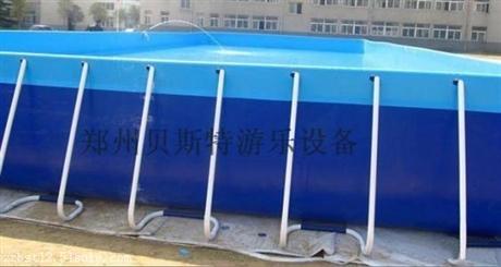 河南水上乐园厂家定做可拆卸支架游泳池充气水滑梯