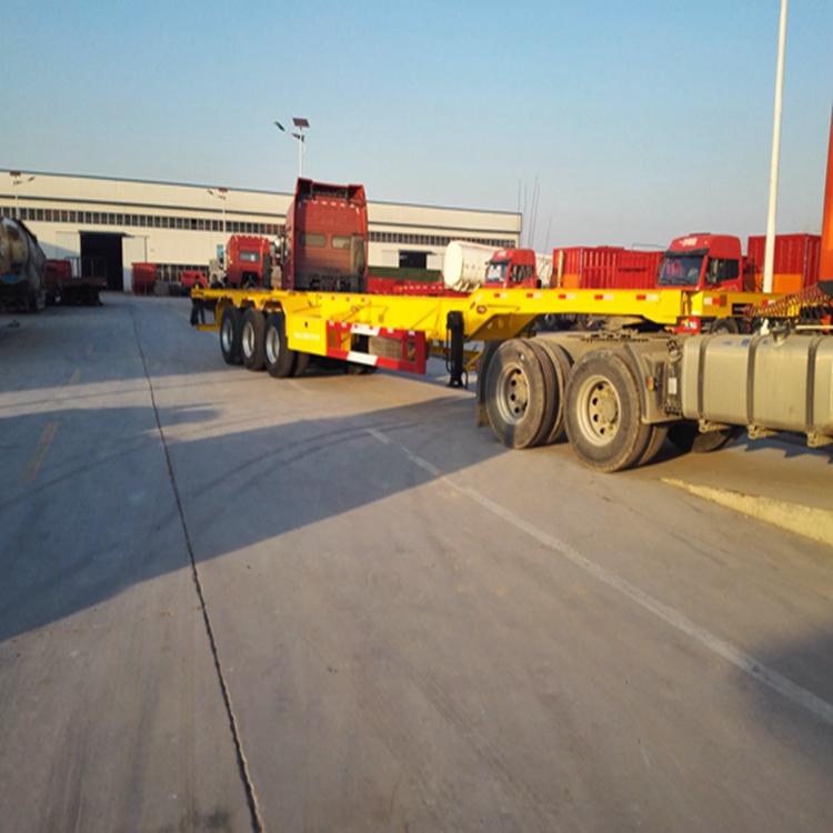 7米5二桥集装箱骨架半挂车轻量化载重