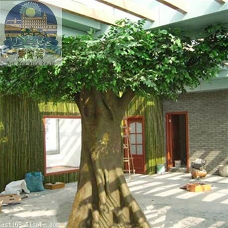仿真迷你榕树小榕叶仿真大型树商场酒店装饰玻璃钢树假树