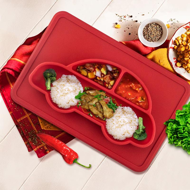 亚马逊热卖防滑一体式分隔餐盘儿童安全食品