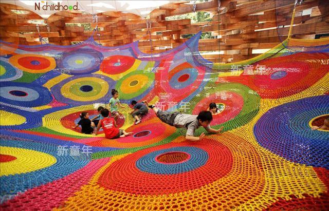 新童年彩虹绳网游乐设备,室内儿童游乐园彩虹网,淘气堡绳网蜂巢网