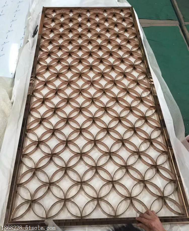酒店不锈钢屏风定做玫瑰金不锈钢屏风生产屏风加工厂家-臻佳金属