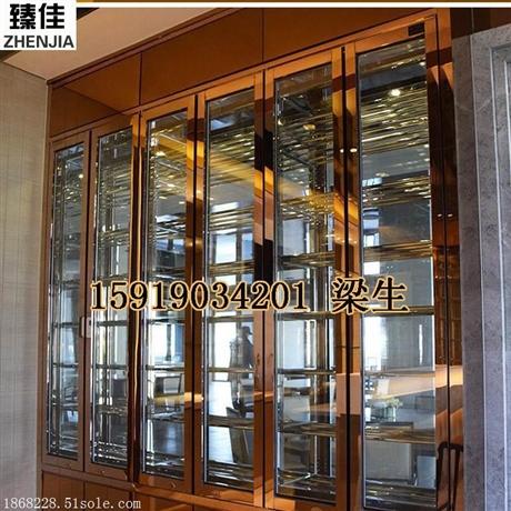 加工定制现代中式玫瑰金镜面不锈钢酒柜酒架供应电子金属控温酒柜
