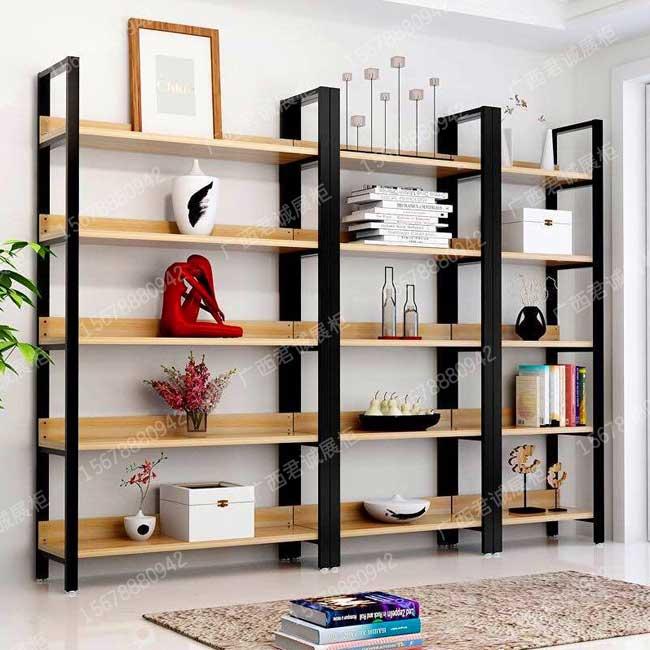 广西南宁钢木货架定制,书柜,红酒展示柜