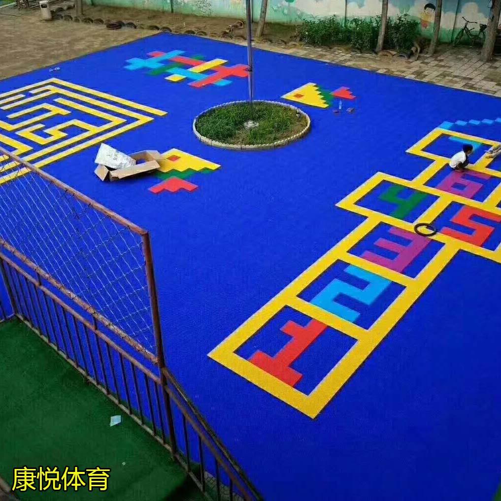 雅安悬浮球场地板拼装彩色卡通塑胶操场铺设