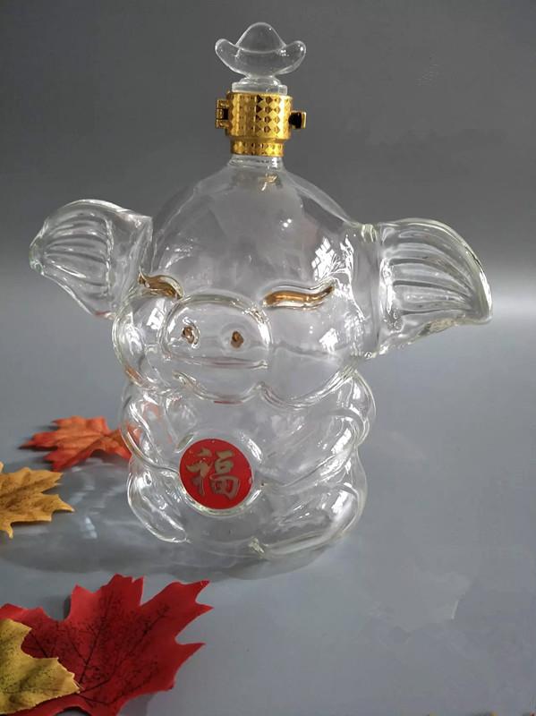 大耳朵猪猪玻璃酒瓶吹制小猪玻璃酒瓶动物瓶