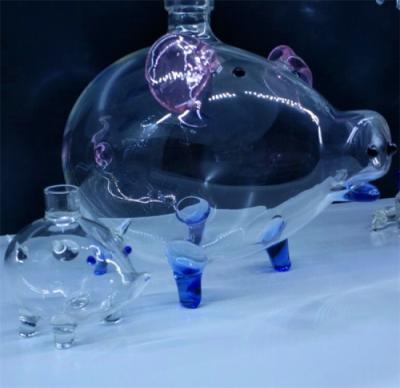 小猪佩奇玻璃酒瓶空心大猪造型玻璃酒瓶