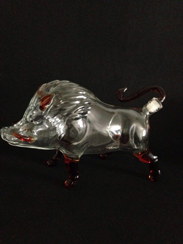 野猪造型玻璃酒瓶空心白酒瓶动物猪玻璃瓶