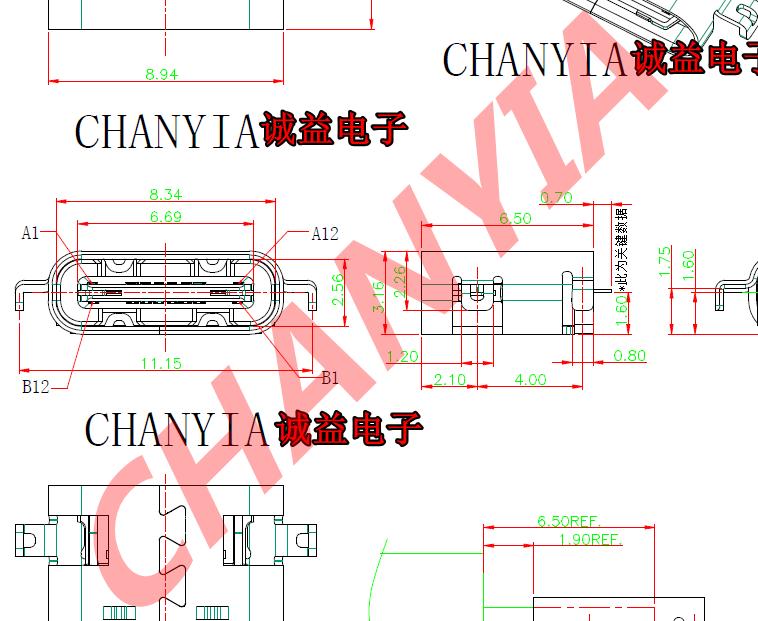 沉板type c母座usb3.1连接器短体6.5下沉0.8/1.0/1.6/1.86/2.