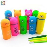 新款精品供应可爱动物笔筒 创意折叠伸缩学习文具用品
