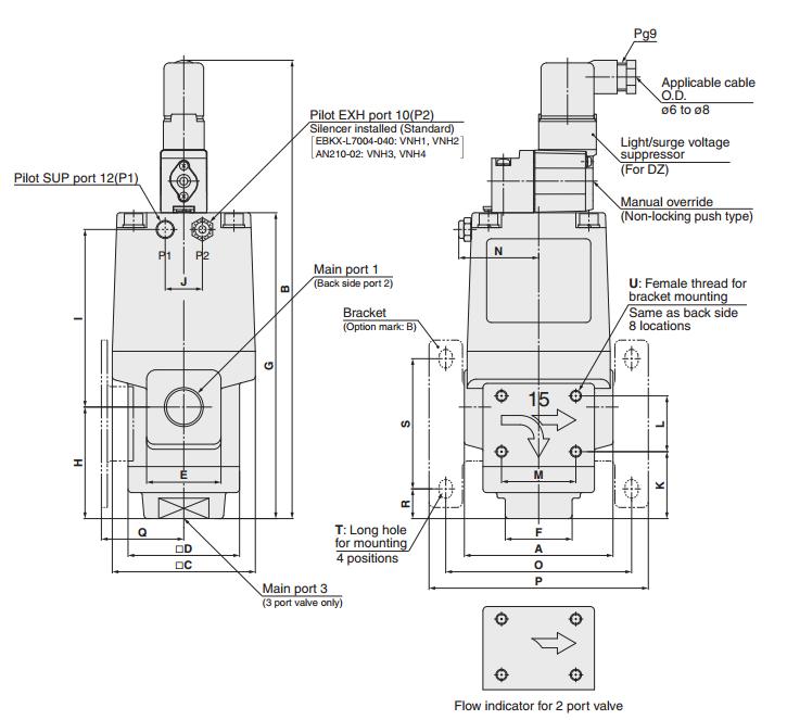 垂直向上 不要求(使用涡轮机油1级ISO VG32,如果润滑。) 0至7.0MPa 5.5MPa 10.5MPa 当先导式电磁阀? 阀门不通电元件A =连接到活塞>被复位弹簧关闭 2.然后连接到阀元件A =的阀元件B B是打开。 当先导式电磁阀? 通电(或 当压缩空气通过气动端口12(P1)进入时样式),供应到活塞底部的先导空气>移动向上打开阀门元件A =并关闭阀门元件 选型尺寸:SMC高压冷却液用阀VNH211A-15A-5DZ-B