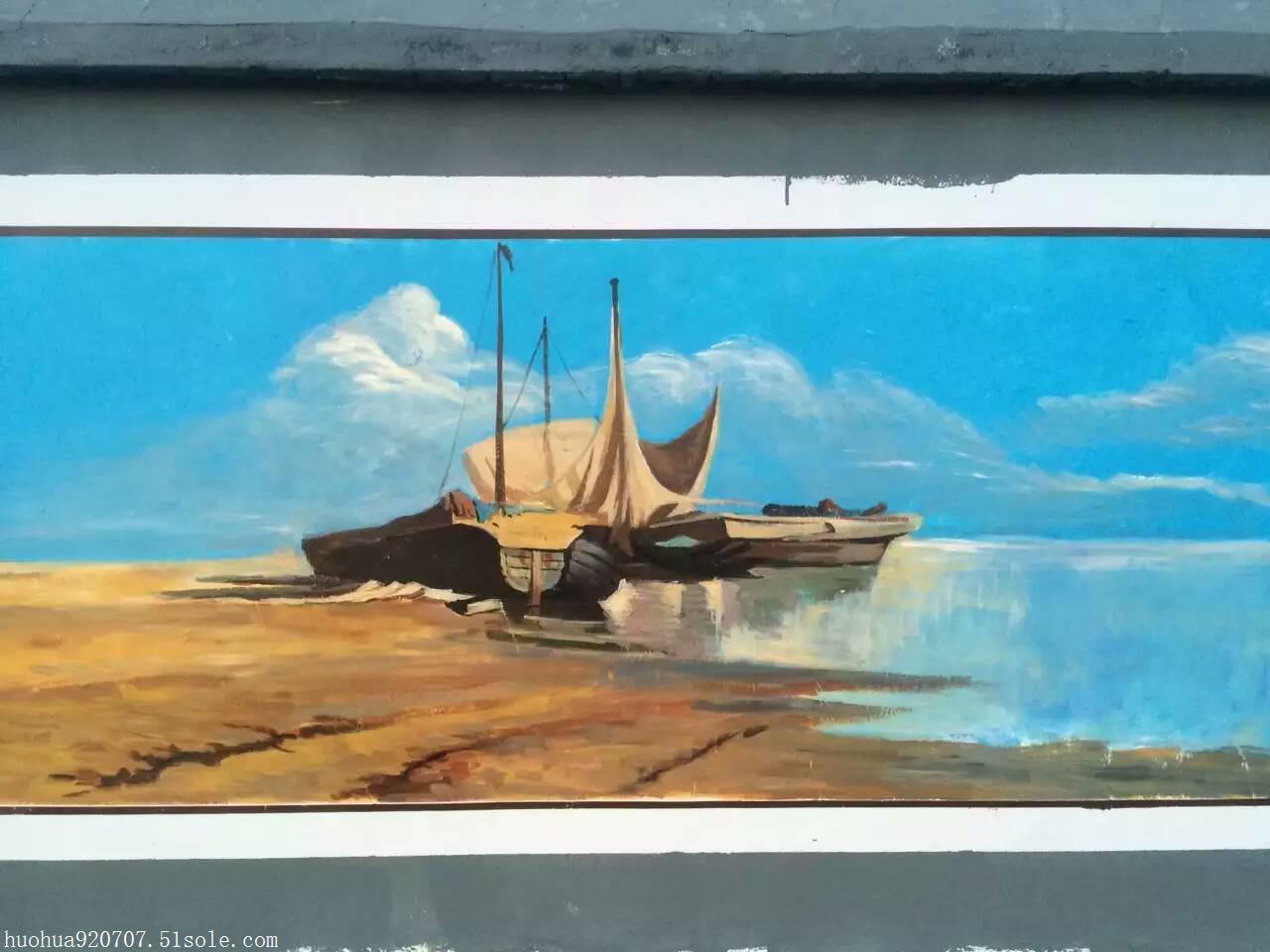 新疆风景墙体手绘宣传墙
