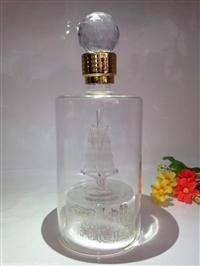 直管帆船玻璃酒瓶个性玻璃吹制小船工艺酒瓶异形带船白酒瓶