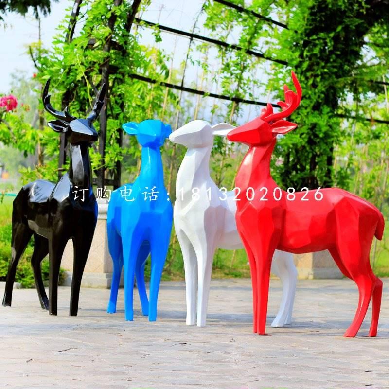 玻璃钢彩色抽象鹿,彩绘动物雕塑