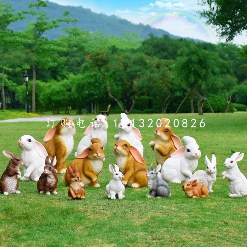 仿真兔子雕塑,玻璃钢仿真动物雕塑