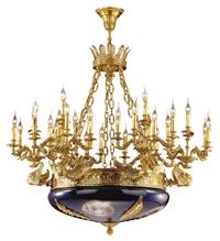 法式陶瓷吊灯欧式奢华纯铜客厅灯别墅全铜水晶 宫廷复古铜灯