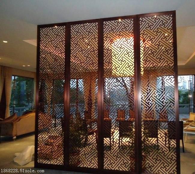 新中式不锈钢屏风定做厂家酒店玄关客厅隔断