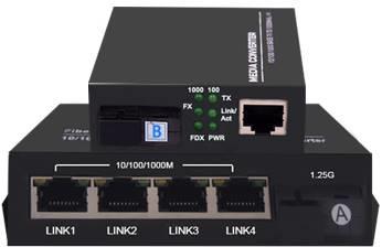 1光4电+1光1电组合千兆光纤收发器