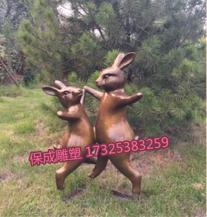 铸铜兔子雕塑园林景观花园庭院别墅动物摆件